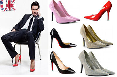 Mens Womens Drag Queen Crossdresser High Heel Pointed Court Shoes Large Size New