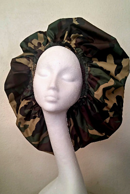 Handmade Unisex Multi-Coloured Green Camouflage Shower Caps
