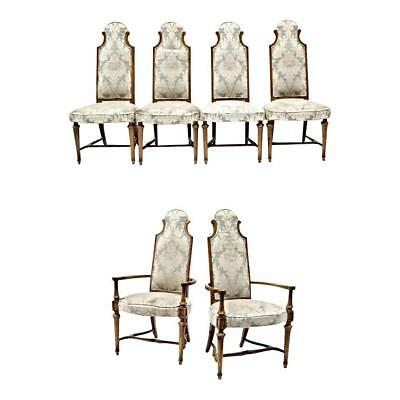 Set Six 6 Oak High Back Upholstered Dining Chairs Side Accent Vintage Antique