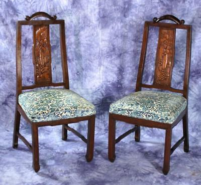 Antique Chinese Carved Wood Side Chairs Armchairs Dining Accent Table Vintage