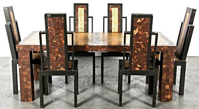 Art Deco Modern Inlaid Dining Set Table Six Black Side Chairs Buffet Mid Century