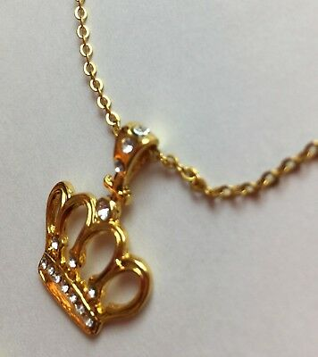 QUEEN PRINCESS CROWN Rhinestones Charm on Gold Plated Chain NEW Stunnng!!