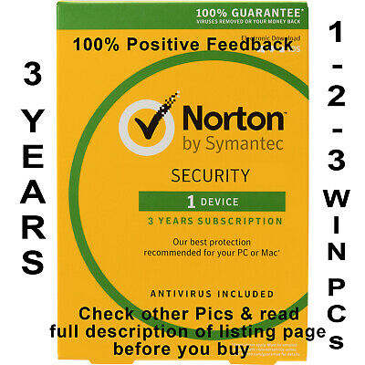 Norton Internet Security 2019 for 3 Years 1-2-3 PCs Worldwide - Check Pics