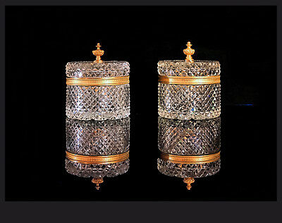 A Pair Of Large French Ormolu Mounted Diamond Cut Crystal Lidded Boxes, 14,5 H.