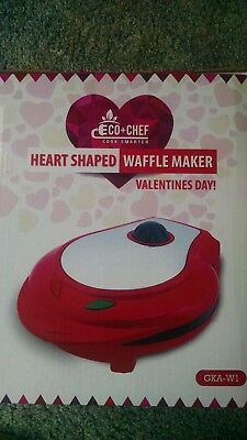 ECO+CHEF heart shaped waffle maker brand new in box.  5 slice, non-stick