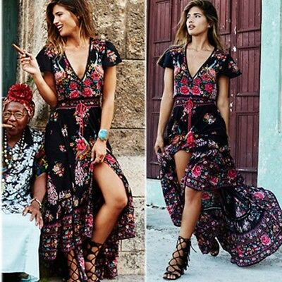 US Women Vintage Floral Long Boho Maxi Evening Party Chiffon Summer Beach Dress