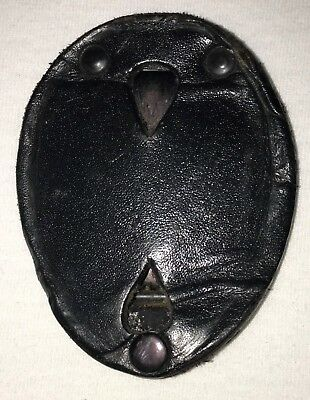 """Used Strong Leather Co. Black Clip-On Shield Badge Holder 2.5"""" x 3.5"""" 71220"""