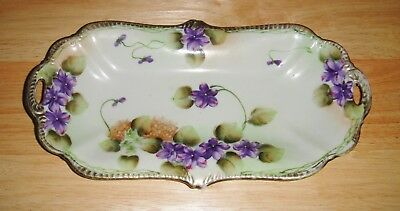 """Vintage 12"""" Oblong Trinket Tray Candy Dish, Handled, Purple Violets, Hand Paintd"""