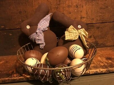 Primitive Lot Easter Chocolate Bunny Egg Wire Basket Farmhouse Gathering
