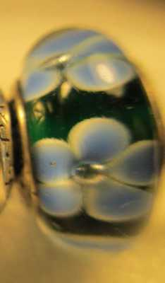 New Pandora Silver 925 Ale Blue Flowers Dark Green Murano Glass Beads Charms