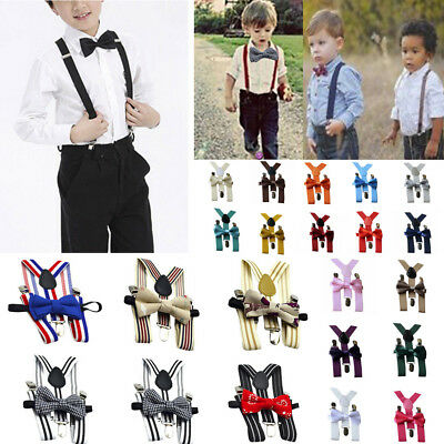 Children Kids Baby Boys Party Matching Braces Suspenders and Luxury Bow Tie UK