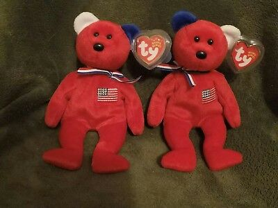 Ty beanie babies Rare Red america set, reversed ear and the regular one.