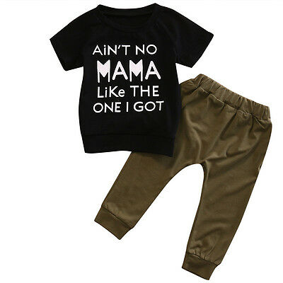 US Toddler Kids Baby Boys Girls Tops T-shirt Pants Leggings Outfit Clothes HOT
