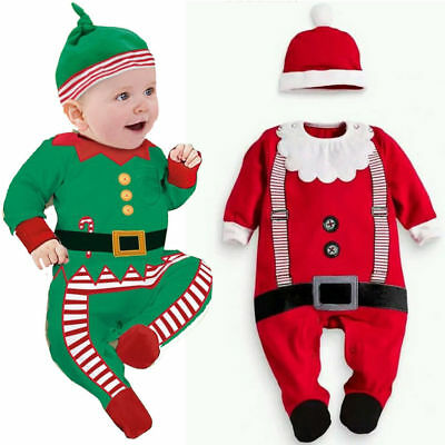 Xmas Newborn Baby Boy Girl Romper Bodysuit Jumpsuit Hat Outfits Set Clothes