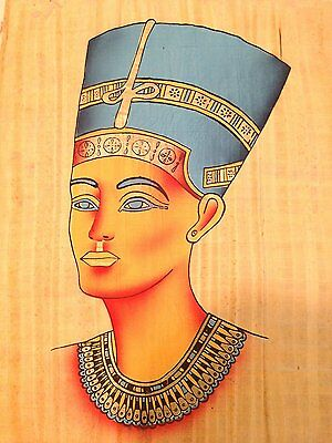 Huge Ancient Egyptian Queen Nefetiti Handmade Painting on Papyrus.