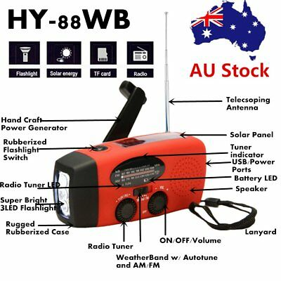 *Emergency Hand Crank Generator Solar AM/FM/WB Radio Flashlight Charger!U