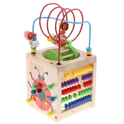 5 in 1 Wooden Activity Cube Learning Bead Maze Cube Kids Educational Toys
