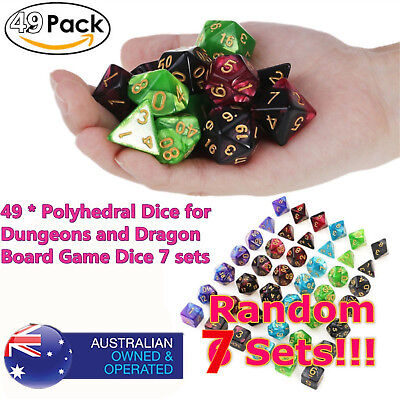 *7set 49pcs Polyhedral Dice DND RPG Game Poker Card Dungeons Dragons PartyC1!!