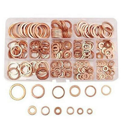 280pcs 12 Size Assorted Solid Copper Crush Washers Sump Plugs Seal Flat Ring Set