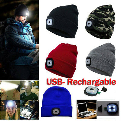 4 LED Knit Hat USB Rechargeable Hands Free Flashlight Cap for Climbing Fishing