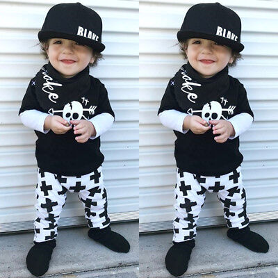 Cute Toddler Kids Baby Boy Skull Tops T-shirt Pants 2Pcs Outfit Set Clothes 1-6T