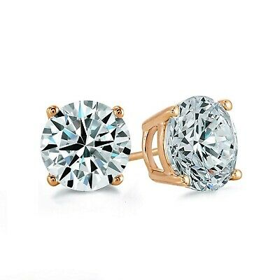 2ct Round Cut Created Diamond Earrings 14K Solid Yellow Gold Solitaire Studs