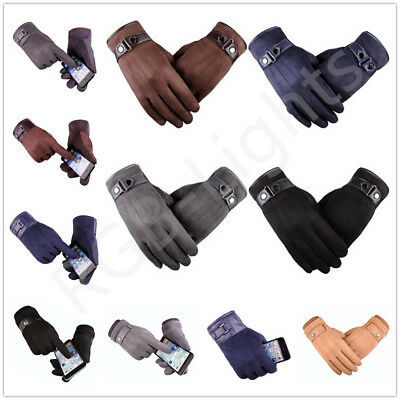Womens Mens Winter Warm Suede Leather Fleece Lined Driving Touch Screen Gloves