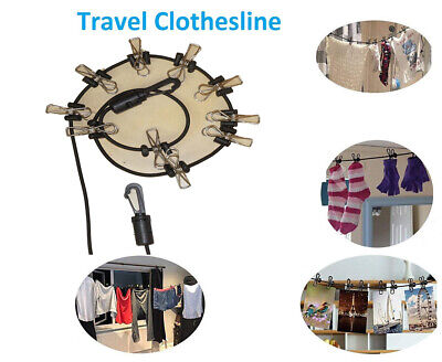 NEW Clothesline10 Clips Hanging Rope Portable Outdoor Windproof Travel Stretchy