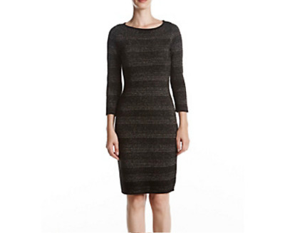 Calvin Klein Womens Sweater Dress 15340 Metallic Striped Gold Knit Party Small S