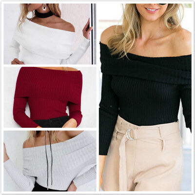 New Women Sexy Off Shoulder Knitted Sweater Autumn Slim Sweaters Jumper Pullover