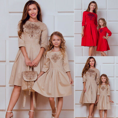 Christmas Outfit.Us Family Matching Christmas Outfit Women Girl Casual Mother Daughter Maxi Dress