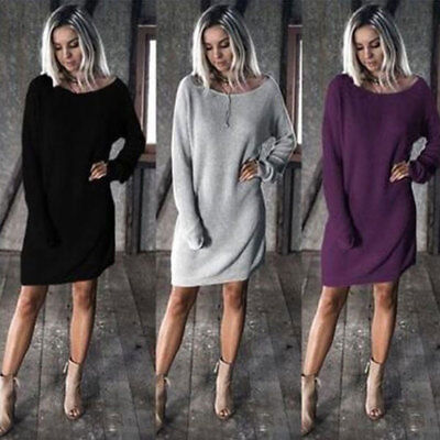 US Fall Winter Casual Women Sweater Dress Short Loose Top Long Sleeve Plus Size