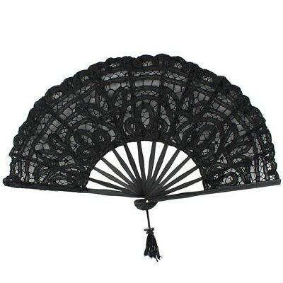Handmade Cotton Lace Folding Hand Fan for Party Bridal Wedding Decoration ( X5A9