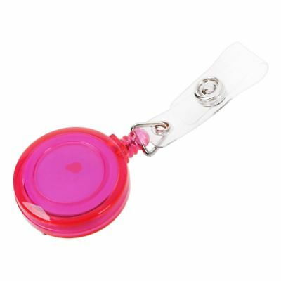 Retractable Ski Pass ID Card Badge Holder Key Chain Reels With Clip Pink A3C3