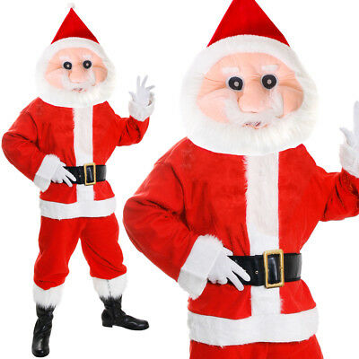 Deluxe Santa Mascot Costume Plush Father Christmas Costume Xmas Fancy Dress
