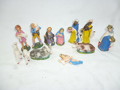 VINTAGE RETRO 1960s XMAS COLLECTION of 12 ITALIAN HAND PAINTED NATIVITY FIGURES
