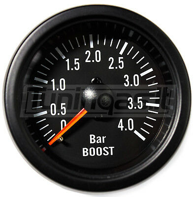 52mm Black Waterproof 4 BAR Boost gauge ideal Kit Car or Marine