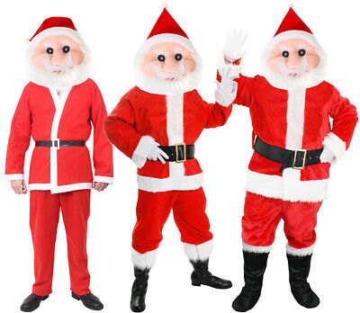Santa Mascot Costume Father Christmas Suit Fancy Dress Costume Mens Xmas Outfit