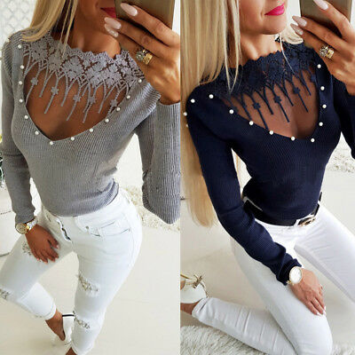 NEW Fashion Women Ladies Hollow Out Lace Long Sleeve Pullover T-Shirt Blouse Top