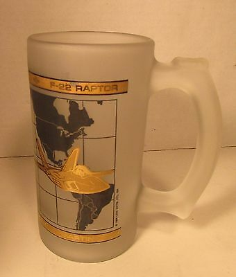 1998 LOCKHEED MARTIN F-22 Frosted Mug BEER GLASS US AIR FORCE Military Aircraft