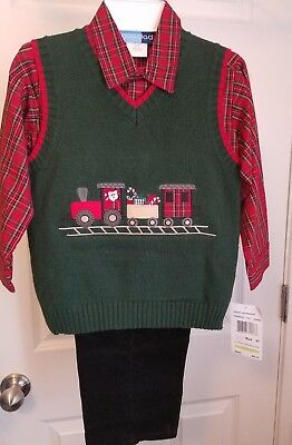 Good Lad Toddler Boys Train Sweater Vest Set 4T NWT
