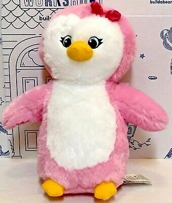 New Build A Bear Holiday Snow Hugs Pink Penguin Plush Girl Black Friday Doll Toy