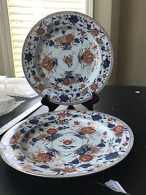 A Pair 18th Century Antique Chinese Export Families Rose Imari Porcelain Plates