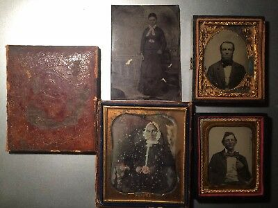 SALE!! Lot of 3 - 1800s Daguerreotypes Ambrotypes (6th And 9th Plates) Tin Type