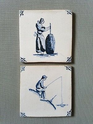2x Antique Dutch tile Farmers dark blue