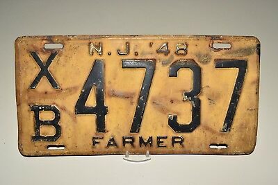 Good, Authentic 1948, 48 NEW JERSEY, NJ FARMER License Plate, XB 4737