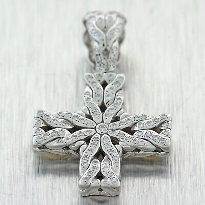Vintage John Hardy Palu Sterling Silver 18K Yellow Gold Diamond Cross Pendant