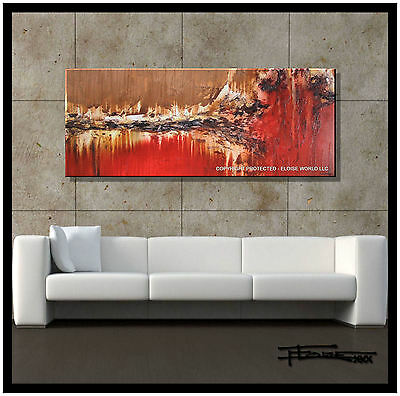 ABSTRACT PAINTING MODERN CANVAS WALL ART Large, Framed US signed ELOISExxx