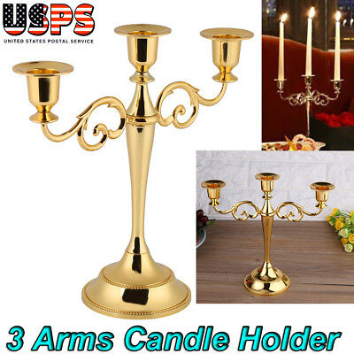 3 Arms Metal Crafts Candelabra Alloy Candle Holder Stand Home Decoration Gold