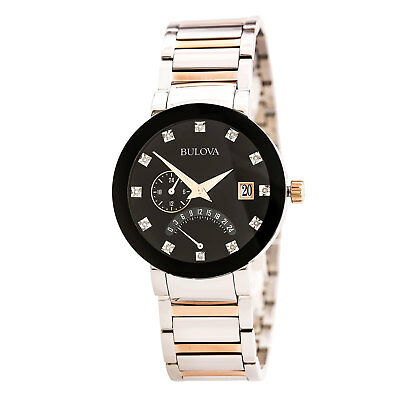 Brand New Men's Bulova (98D129) Diamonds Black Dial Dual Time Two Tone Watch